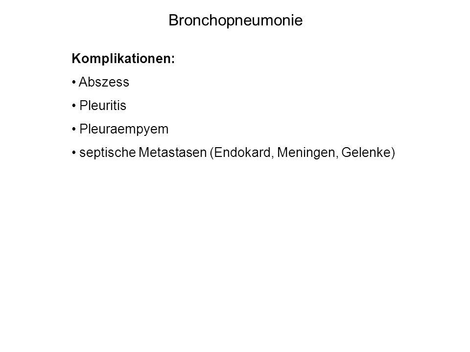 Bronchopneumonie Komplikationen: Abszess Pleuritis Pleuraempyem septische Metastasen (Endokard, Meningen, Gelenke)