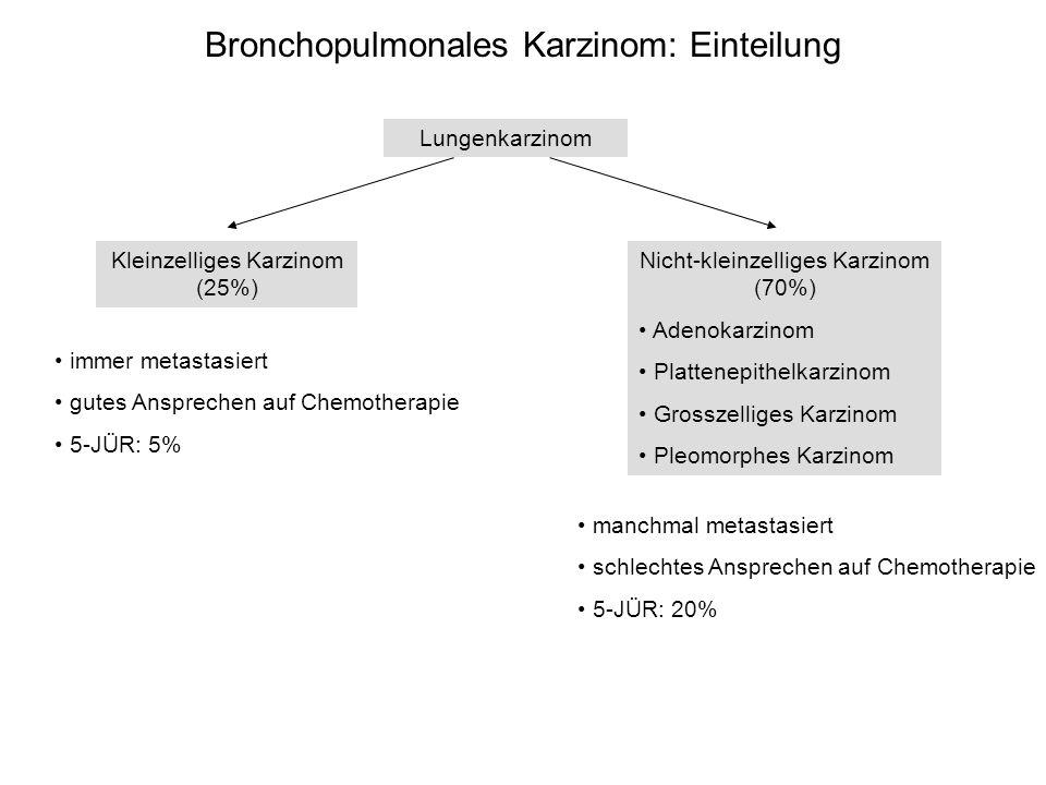 Bronchopulmonales Karzinom: Einteilung Lungenkarzinom Kleinzelliges Karzinom (25%) Nicht-kleinzelliges Karzinom (70%) Adenokarzinom Plattenepithelkarz