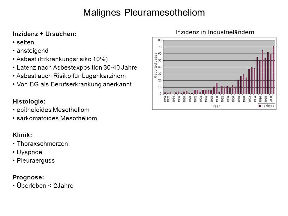 Malignes Pleuramesotheliom Inzidenz + Ursachen: selten ansteigend Asbest (Erkrankungsrisiko 10%) Latenz nach Asbestexposition 30-40 Jahre Asbest auch