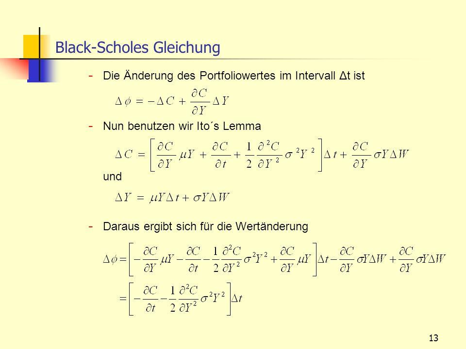 13 - Die Änderung des Portfoliowertes im Intervall Δt ist - Nun benutzen wir Ito´s Lemma und - Daraus ergibt sich für die Wertänderung Black-Scholes G