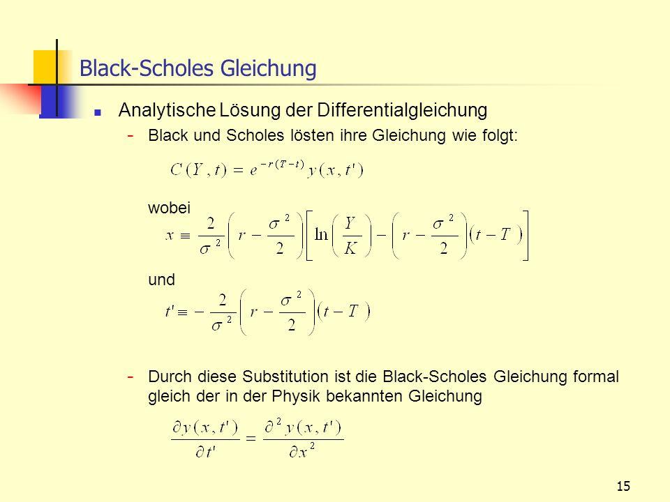15 Analytische Lösung der Differentialgleichung - Black und Scholes lösten ihre Gleichung wie folgt: wobei und - Durch diese Substitution ist die Blac