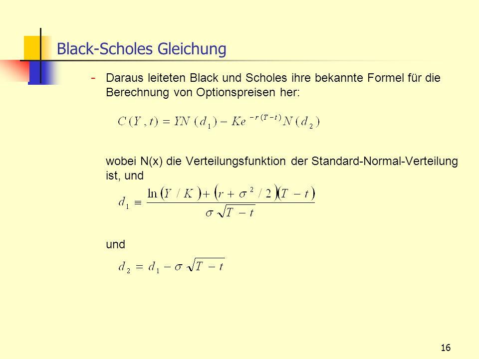 16 Black-Scholes Gleichung - Daraus leiteten Black und Scholes ihre bekannte Formel für die Berechnung von Optionspreisen her: wobei N(x) die Verteilu