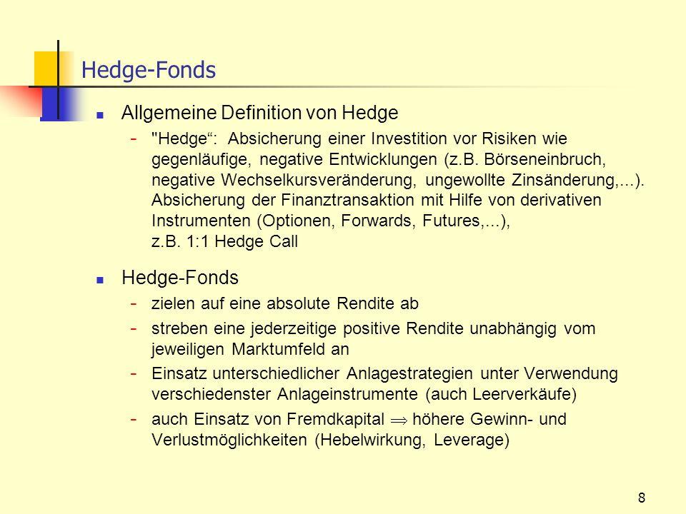 8 Hedge-Fonds Allgemeine Definition von Hedge -