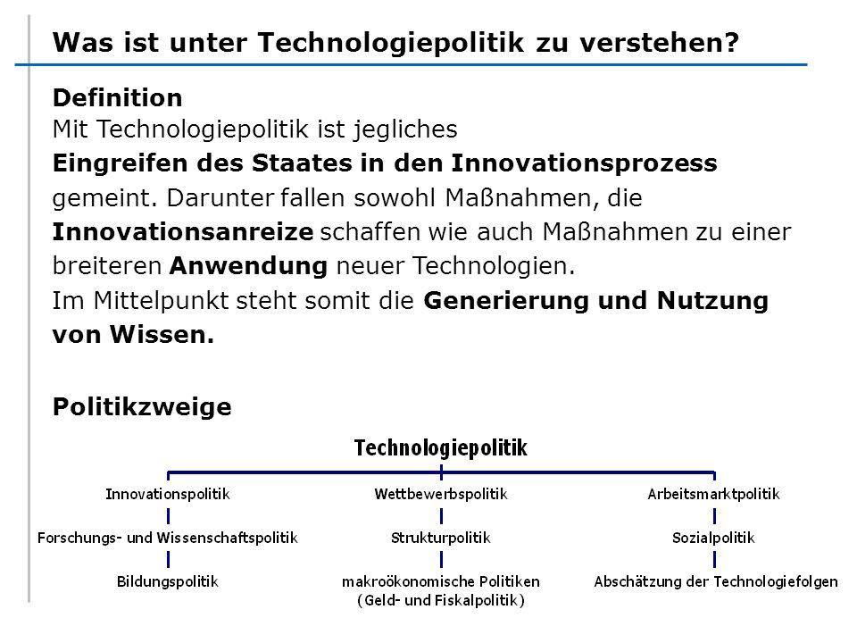 Was ist unter Technologiepolitik zu verstehen? Definition Mit Technologiepolitik ist jegliches Eingreifen des Staates in den Innovationsprozess gemein