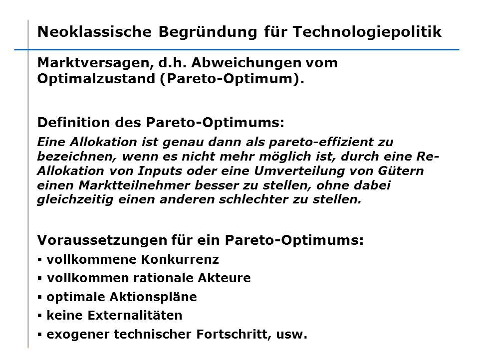 Neoklassische Begründung für Technologiepolitik Marktversagen, d.h. Abweichungen vom Optimalzustand (Pareto-Optimum). Definition des Pareto-Optimums: