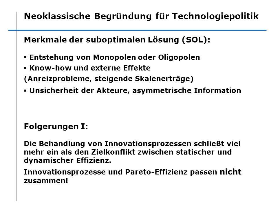 Neoklassische Begründung für Technologiepolitik Merkmale der suboptimalen Lösung (SOL): Entstehung von Monopolen oder Oligopolen Know-how und externe