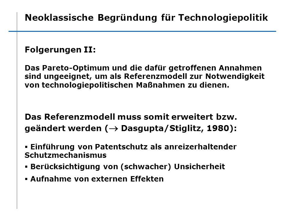 Neoklassische Begründung für Technologiepolitik Folgerungen II: Das Pareto-Optimum und die dafür getroffenen Annahmen sind ungeeignet, um als Referenz