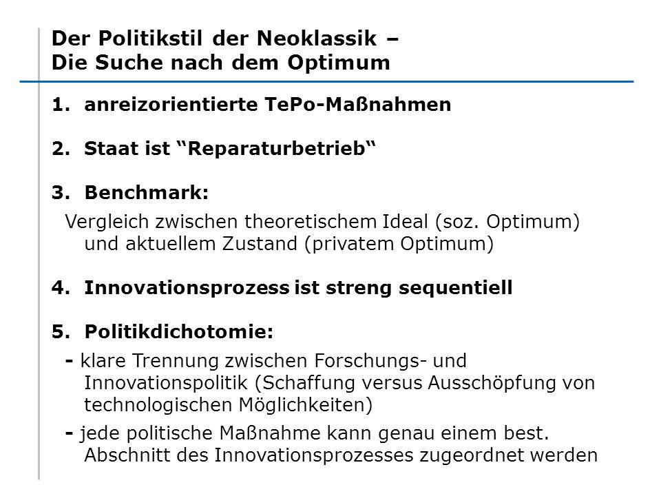 Der Politikstil der Neoklassik – Die Suche nach dem Optimum 1.anreizorientierte TePo-Maßnahmen 2.Staat ist Reparaturbetrieb 3.Benchmark: Vergleich zwi