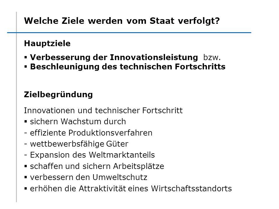 Welche Ziele werden vom Staat verfolgt? Hauptziele Verbesserung der Innovationsleistung bzw. Beschleunigung des technischen Fortschritts Zielbegründun