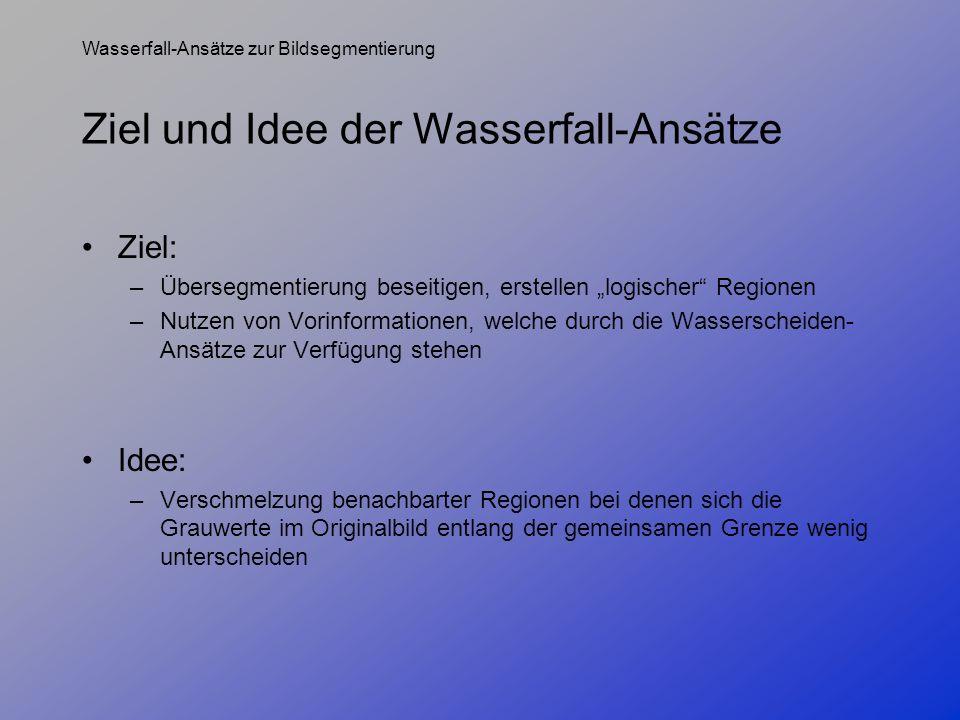 Wasserfall-Ansätze zur Bildsegmentierung Ziel und Idee der Wasserfall-Ansätze Ziel: –Übersegmentierung beseitigen, erstellen logischer Regionen –Nutze