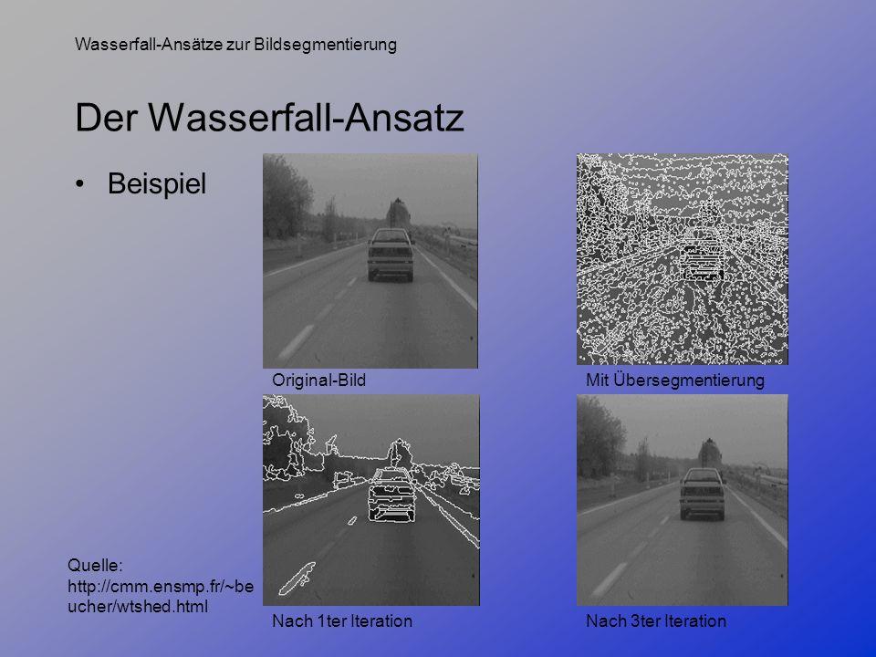 Wasserfall-Ansätze zur Bildsegmentierung Der Wasserfall-Ansatz Beispiel Original-BildMit Übersegmentierung Nach 1ter Iteration Quelle: http://cmm.ensm
