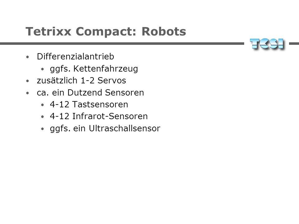 Tetrixx Compact: Robots Differential drive additional 1-2 servos about one dozen sensors 4-12 touch sensors 4-12 IR sensors optional ultrasonic sensor