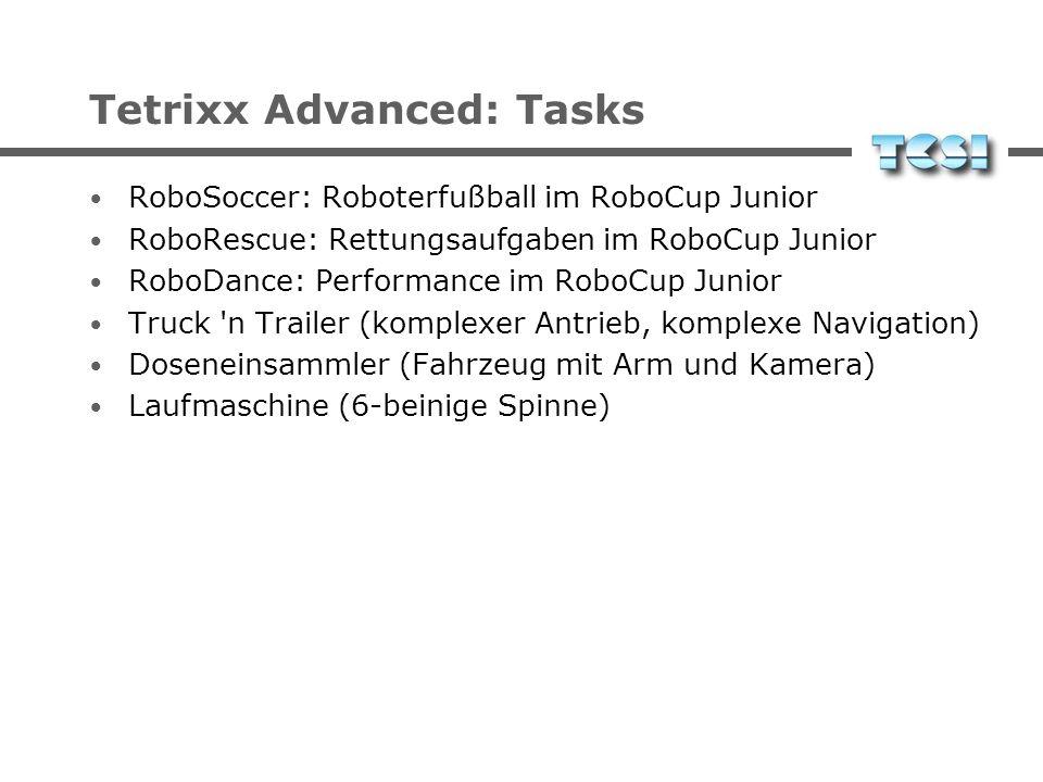 Tetrixx Advanced: Robots Roboter mit mehr als drei Freiheitsgraden Differenzialantrieb auch anspruchsvollere Antriebe bis zu Laufmaschinen jeweils meh