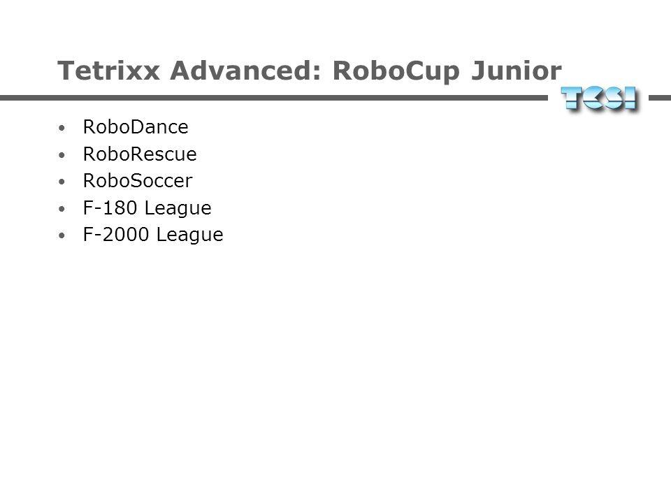 Tetrixx Advanced: Tasks RoboSoccer: Roboterfußball im RoboCup Junior RoboRescue: Rettungsaufgaben im RoboCup Junior RoboDance: Performance im RoboCup