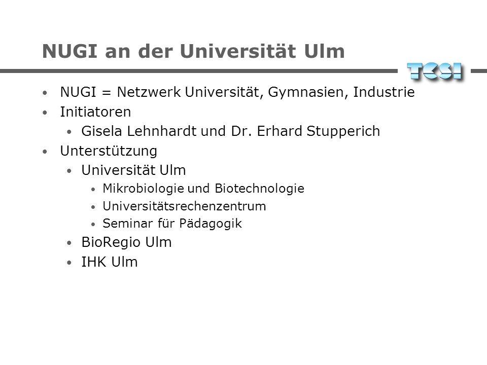 NUGI at University of Ulm NUGI = Netzwerk Universität, Gymnasien, Industrie network of university, high schools, and industry Founders Gisela Lehnhard