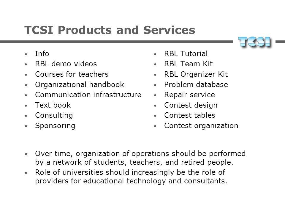 Aufgaben des TCSI Info-Veranstaltungen an Schulen Weiterbildungsangebote für Lehrer Bereitstellung von Lehrmaterial (print/online) Bereitstellung der