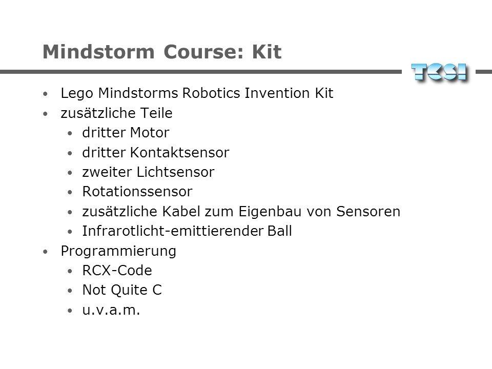 Mindstorm Course: Kit Lego Mindstorms Robotics Invention Kit Additional parts third motor third touch sensor second light sensor rotation sensor extra