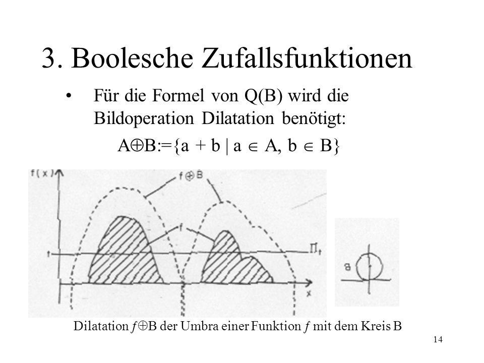 14 3. Boolesche Zufallsfunktionen Für die Formel von Q(B) wird die Bildoperation Dilatation benötigt: A B:={a + b | a A, b B} Dilatation B der Umbra e