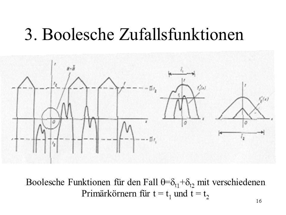 16 3. Boolesche Zufallsfunktionen Boolesche Funktionen für den Fall = t 1 + t 2 mit verschiedenen Primärkörnern für t = t 1 und t = t 2