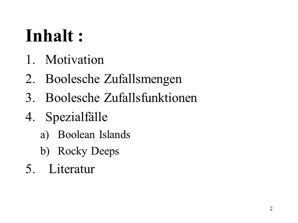 2 Inhalt : 1.Motivation 2.Boolesche Zufallsmengen 3.Boolesche Zufallsfunktionen 4.Spezialfälle a)Boolean Islands b)Rocky Deeps 5. Literatur