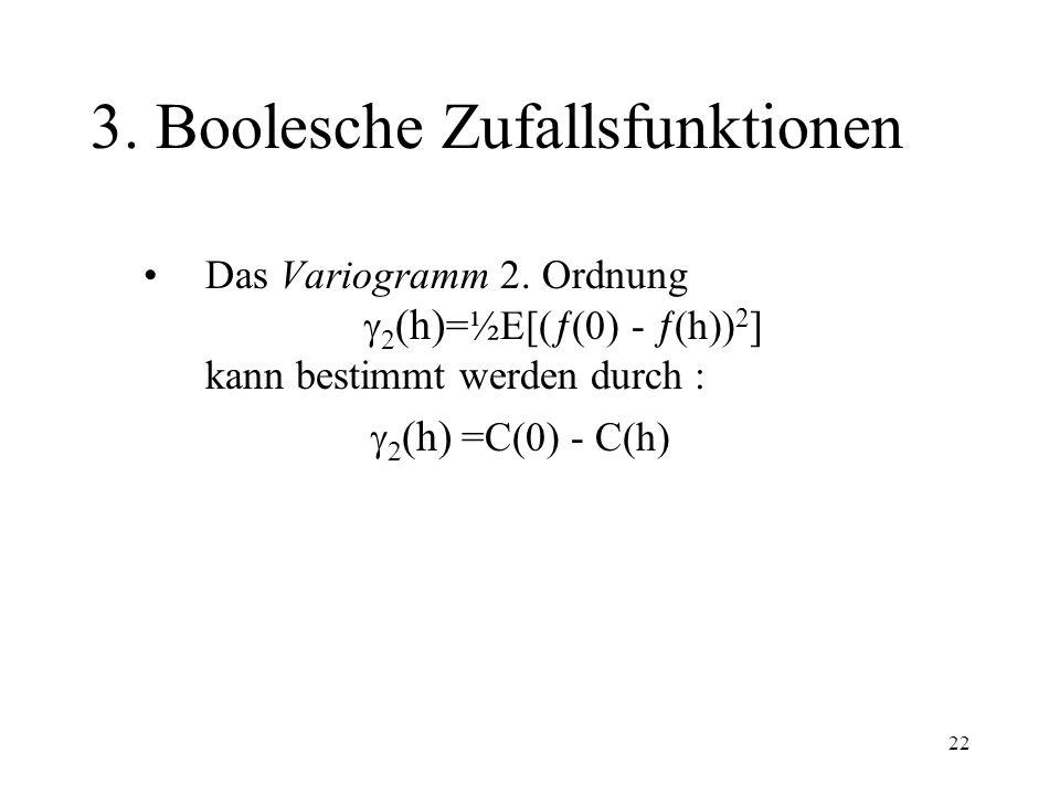 22 3. Boolesche Zufallsfunktionen Das Variogramm 2. Ordnung 2 (h) =½E[( (0) - (h)) 2 ] kann bestimmt werden durch : 2 (h) =C(0) - C(h)