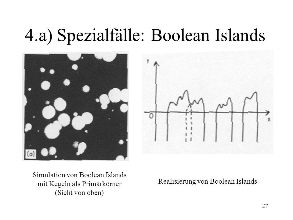 27 4.a) Spezialfälle: Boolean Islands Realisierung von Boolean Islands Simulation von Boolean Islands mit Kegeln als Primärkörner (Sicht von oben)