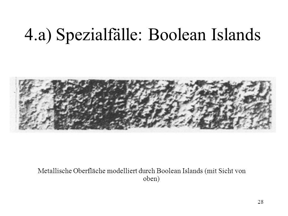 28 4.a) Spezialfälle: Boolean Islands Metallische Oberfläche modelliert durch Boolean Islands (mit Sicht von oben)