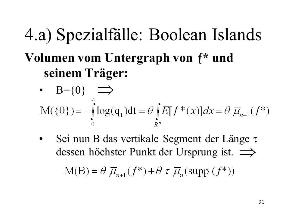 31 4.a) Spezialfälle: Boolean Islands Volumen vom Untergraph von * und seinem Träger: B={0} Sei nun B das vertikale Segment der Länge dessen höchster