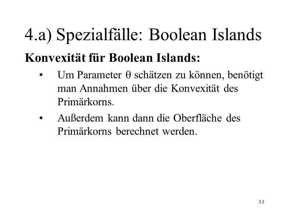 33 4.a) Spezialfälle: Boolean Islands Konvexität für Boolean Islands: Um Parameter schätzen zu können, benötigt man Annahmen über die Konvexität des P