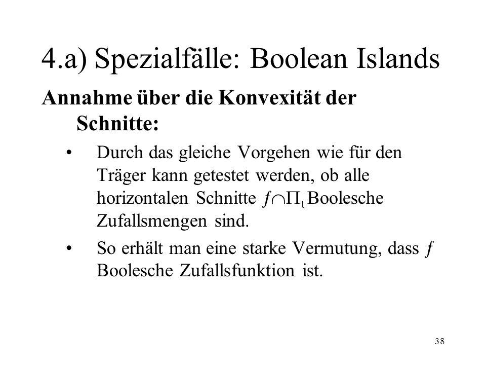 38 4.a) Spezialfälle: Boolean Islands Annahme über die Konvexität der Schnitte: Durch das gleiche Vorgehen wie für den Träger kann getestet werden, ob