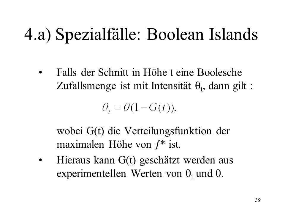 39 4.a) Spezialfälle: Boolean Islands Falls der Schnitt in Höhe t eine Boolesche Zufallsmenge ist mit Intensität t, dann gilt : wobei G(t) die Verteil