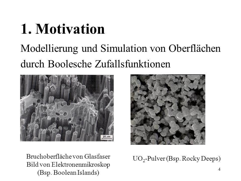 4 1. Motivation Modellierung und Simulation von Oberflächen durch Boolesche Zufallsfunktionen Bruchoberfläche von Glasfaser Bild von Elektronenmikrosk