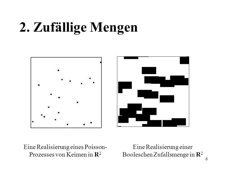 6 2. Zufällige Mengen Eine Realisierung eines Poisson- Prozesses von Keimen in R 2 Eine Realisierung einer Booleschen Zufallsmenge in R 2