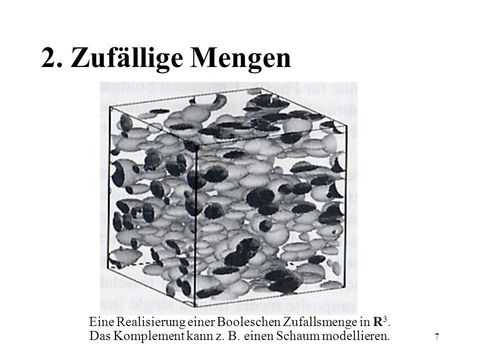 7 2. Zufällige Mengen Eine Realisierung einer Booleschen Zufallsmenge in R 3. Das Komplement kann z. B. einen Schaum modellieren.