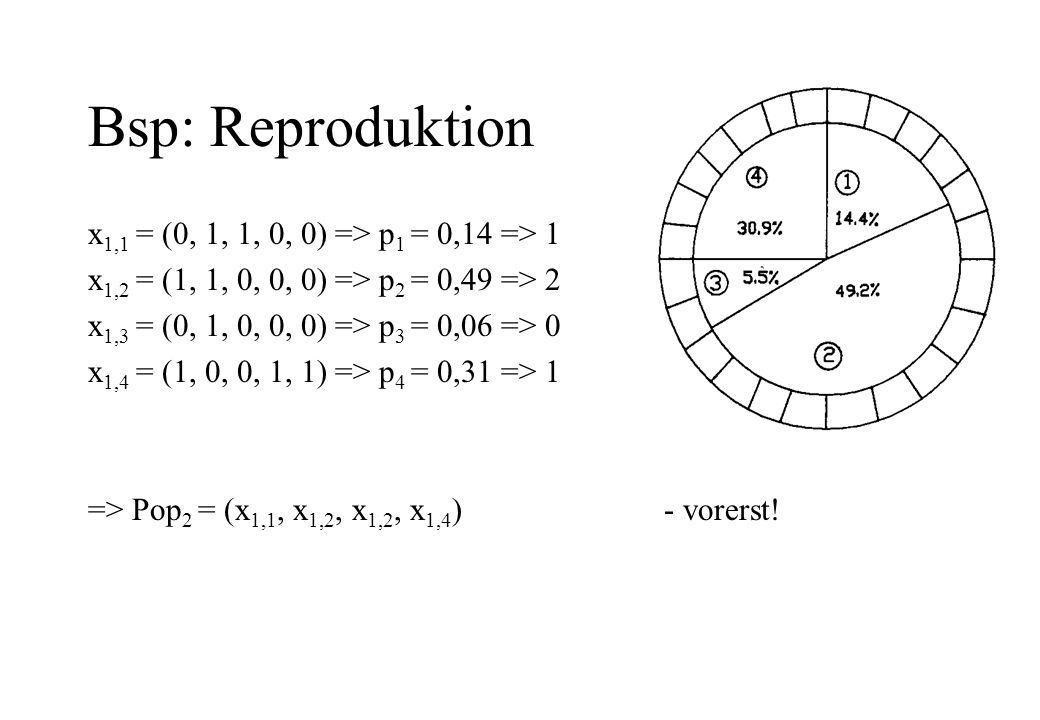 Bsp: Reproduktion x 1,1 = (0, 1, 1, 0, 0) => p 1 = 0,14 => 1 x 1,2 = (1, 1, 0, 0, 0) => p 2 = 0,49 => 2 x 1,3 = (0, 1, 0, 0, 0) => p 3 = 0,06 => 0 x 1