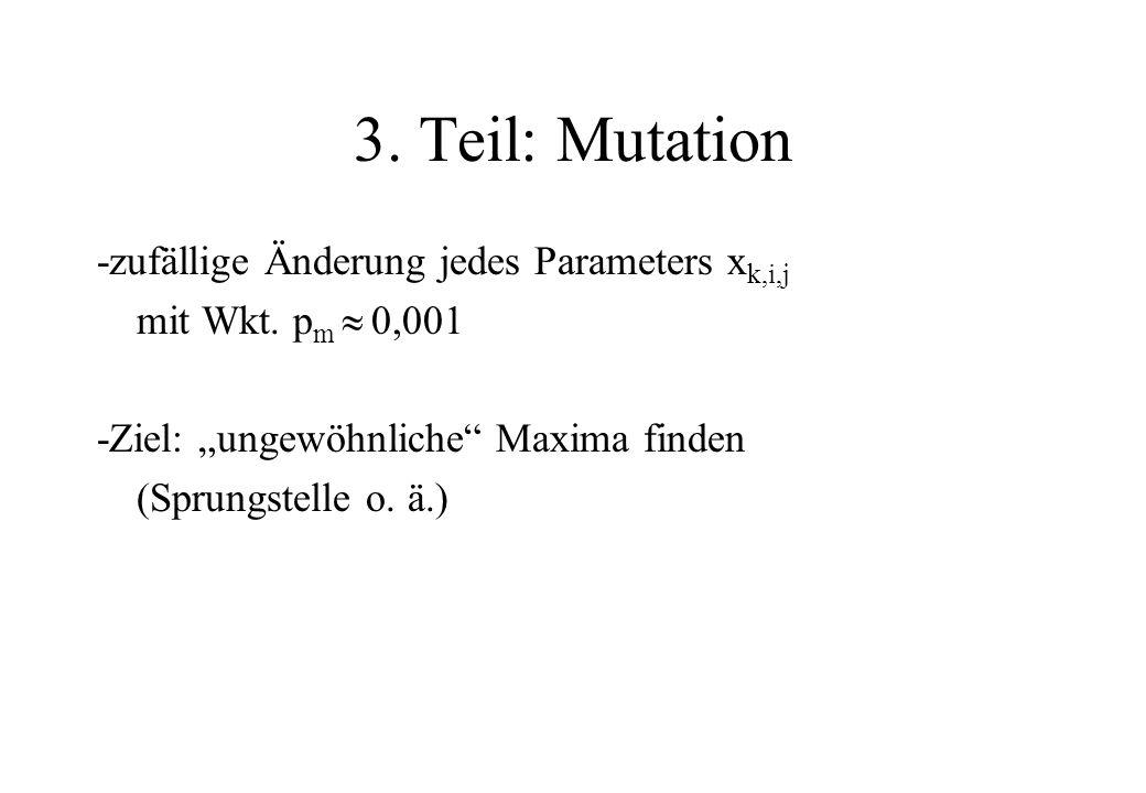 3. Teil: Mutation -zufällige Änderung jedes Parameters x k,i,j mit Wkt. p m 0,001 -Ziel: ungewöhnliche Maxima finden (Sprungstelle o. ä.)