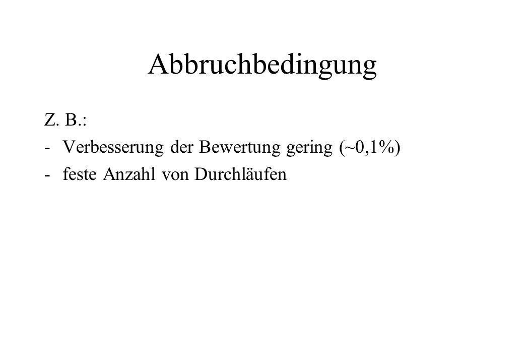 Abbruchbedingung Z. B.: -Verbesserung der Bewertung gering (~0,1%) -feste Anzahl von Durchläufen