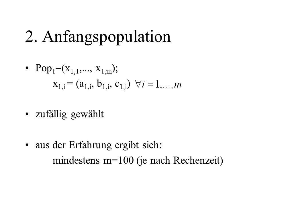 2. Anfangspopulation Pop 1 =(x 1,1,..., x 1,m ); x 1,i = (a 1,i, b 1,i, c 1,i ) zufällig gewählt aus der Erfahrung ergibt sich: mindestens m=100 (je n