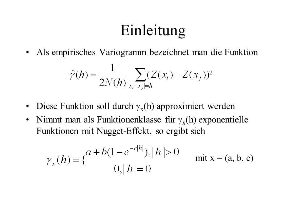 Einleitung Als empirisches Variogramm bezeichnet man die Funktion Diese Funktion soll durch x (h) approximiert werden Nimmt man als Funktionenklasse für x (h) exponentielle Funktionen mit Nugget-Effekt, so ergibt sich mit x = (a, b, c)