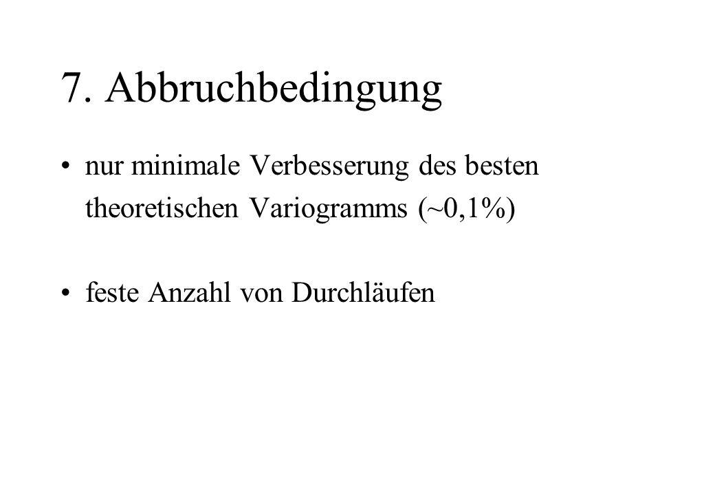 7. Abbruchbedingung nur minimale Verbesserung des besten theoretischen Variogramms (~0,1%) feste Anzahl von Durchläufen
