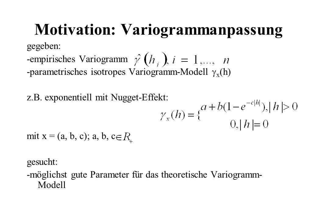 Motivation: Variogrammanpassung gegeben: -empirisches Variogramm -parametrisches isotropes Variogramm-Modell x (h) z.B. exponentiell mit Nugget-Effekt