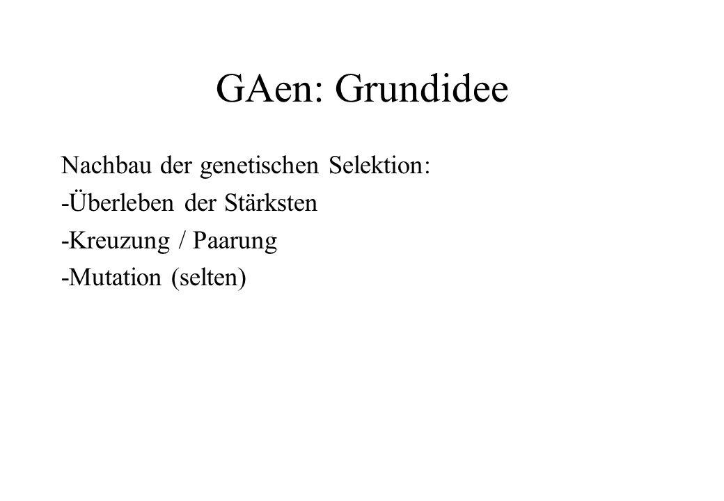 GAen: Grundidee Nachbau der genetischen Selektion: -Überleben der Stärksten -Kreuzung / Paarung -Mutation (selten)