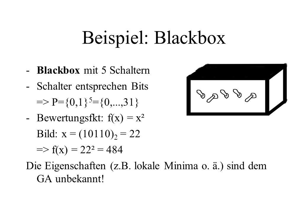 Beispiel: Blackbox -Blackbox mit 5 Schaltern -Schalter entsprechen Bits => P={0,1} 5 ={0,...,31} -Bewertungsfkt: f(x) = x² Bild: x = (10110) 2 = 22 => f(x) = 22² = 484 Die Eigenschaften (z.B.