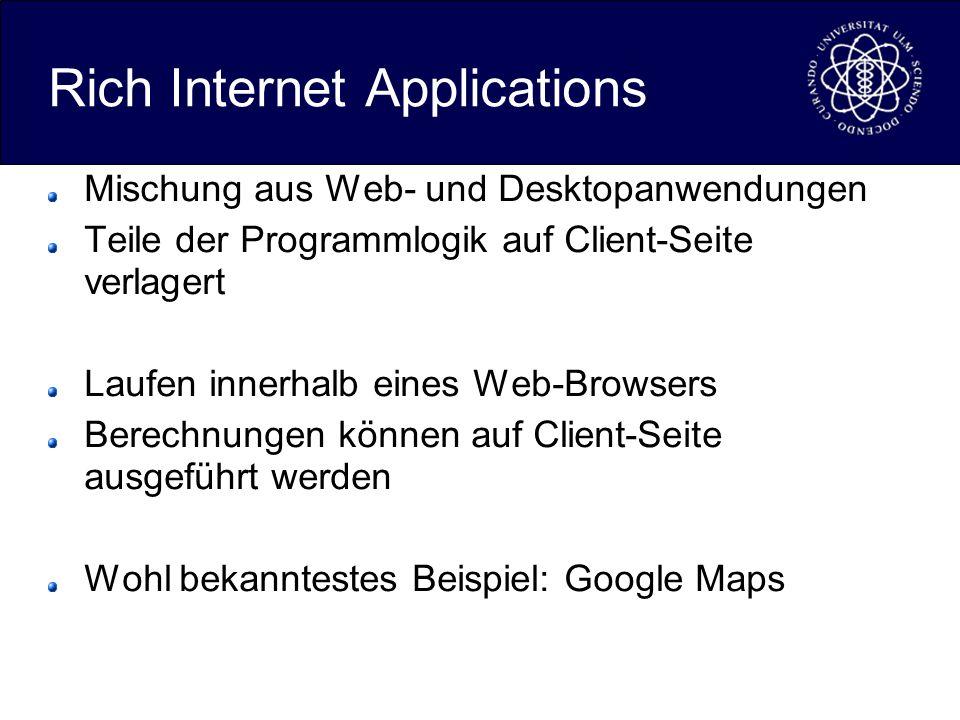 Rich Internet Applications Mischung aus Web- und Desktopanwendungen Teile der Programmlogik auf Client-Seite verlagert Laufen innerhalb eines Web-Browsers Berechnungen können auf Client-Seite ausgeführt werden Wohl bekanntestes Beispiel: Google Maps