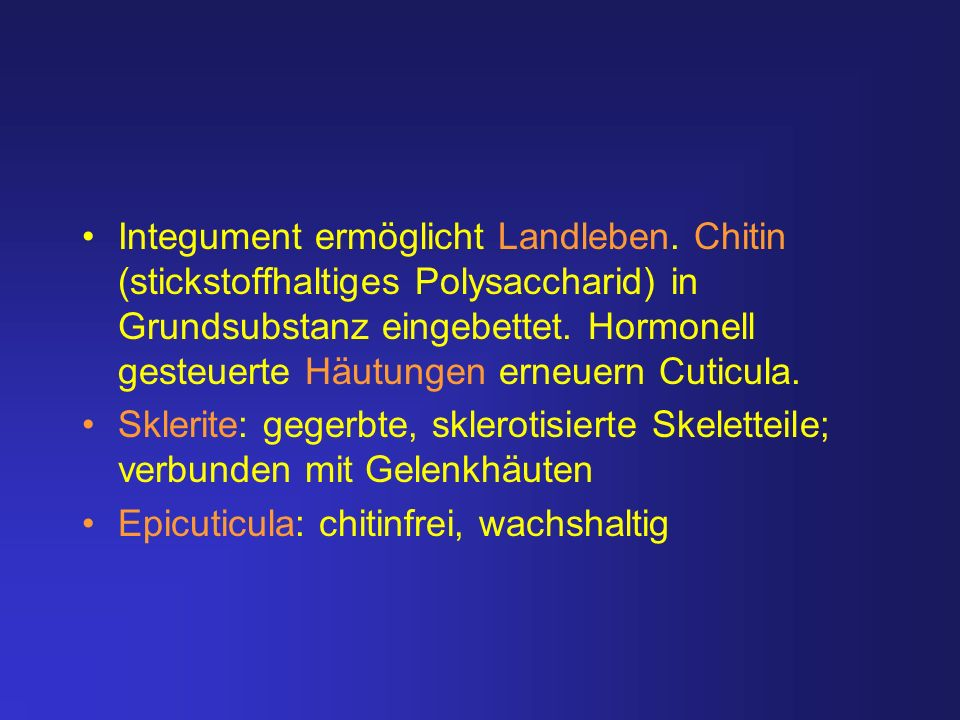 Integument ermöglicht Landleben. Chitin (stickstoffhaltiges Polysaccharid) in Grundsubstanz eingebettet. Hormonell gesteuerte Häutungen erneuern Cutic