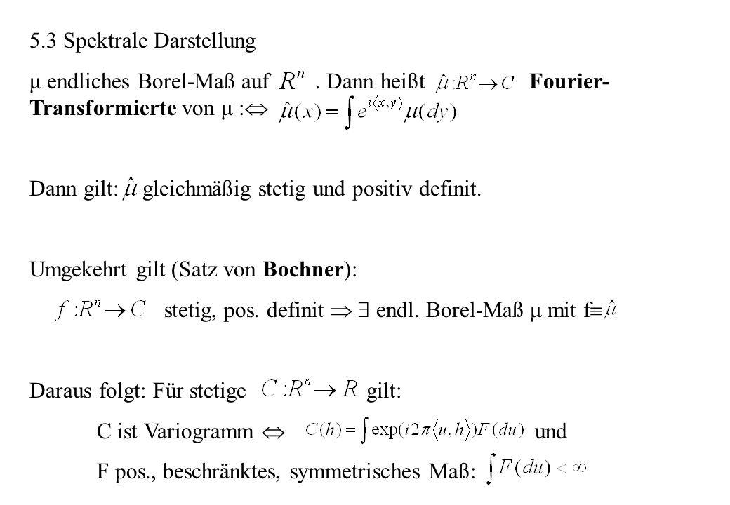 5.3 Spektrale Darstellung μ endliches Borel-Maß auf. Dann heißt Fourier- Transformierte von μ : Dann gilt: gleichmäßig stetig und positiv definit. Umg