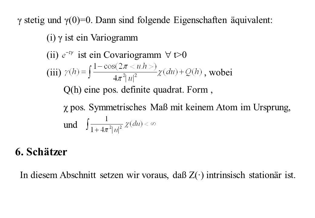 γ stetig und γ(0)=0. Dann sind folgende Eigenschaften äquivalent: (i) γ ist ein Variogramm (ii) ist ein Covariogramm t>0 (iii), wobei Q(h) eine pos. d