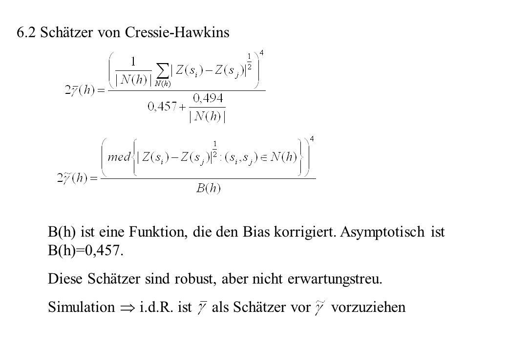 6.2 Schätzer von Cressie-Hawkins B(h) ist eine Funktion, die den Bias korrigiert. Asymptotisch ist B(h)=0,457. Diese Schätzer sind robust, aber nicht