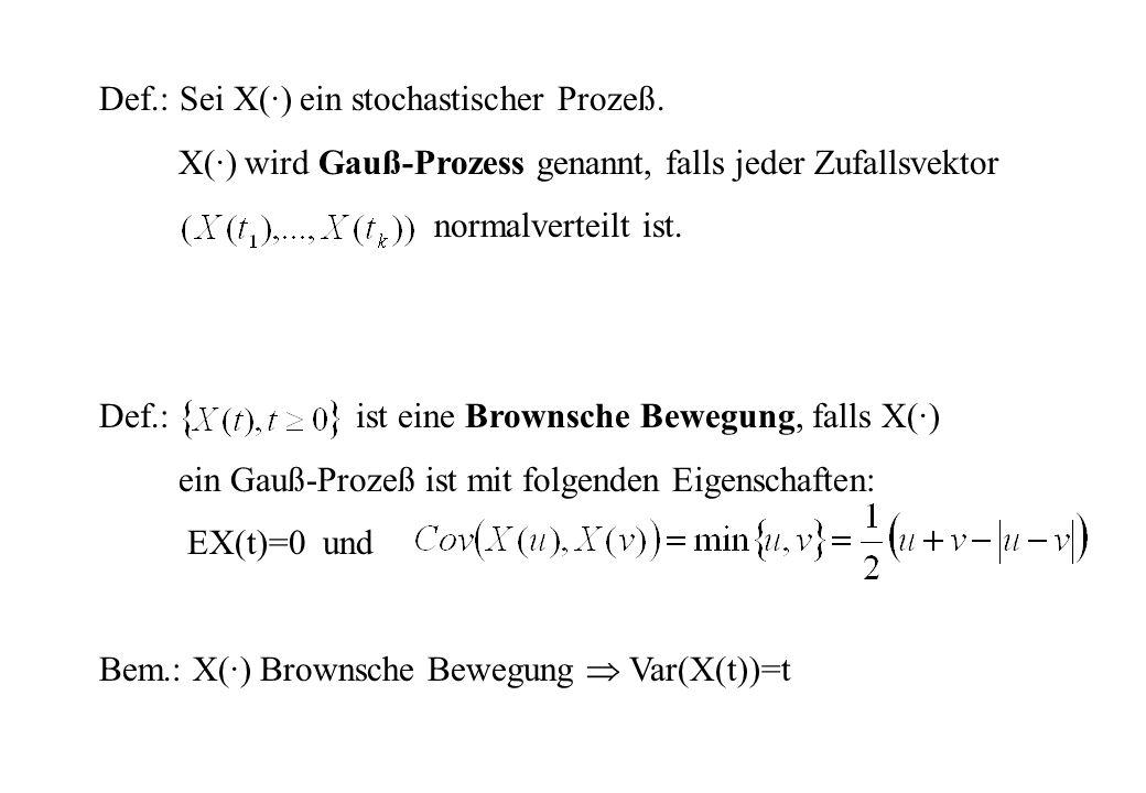 Def.: Sei X(·) ein stochastischer Prozeß. X(·) wird Gauß-Prozess genannt, falls jeder Zufallsvektor normalverteilt ist. Def.: ist eine Brownsche Beweg
