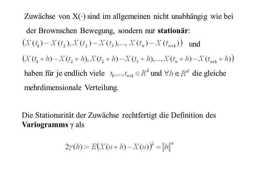 Die Stationarität der Zuwächse rechtfertigt die Definition des Variogramms γ als Zuwächse von X(·) sind im allgemeinen nicht unabhängig wie bei der Br